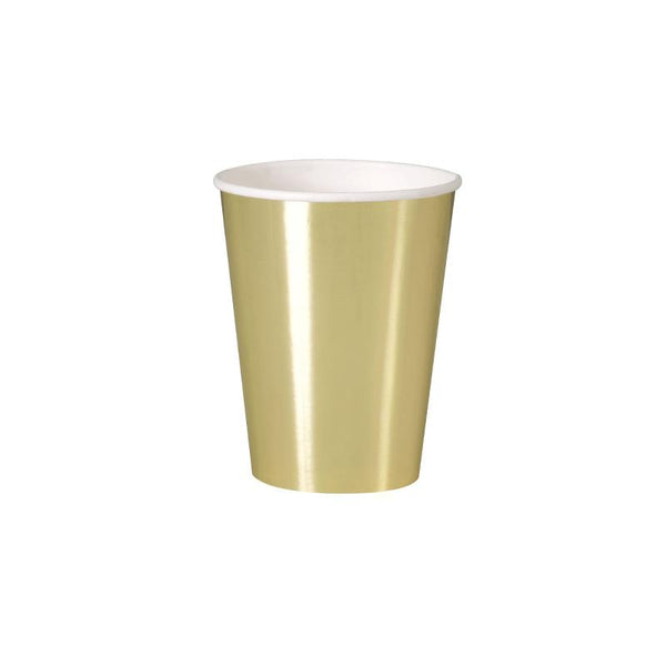 Shiny Metallic Gold Large Paper Cups  Party Cups Unique - Hello Party