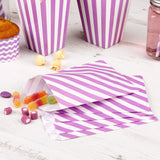 Purple striped treat bags