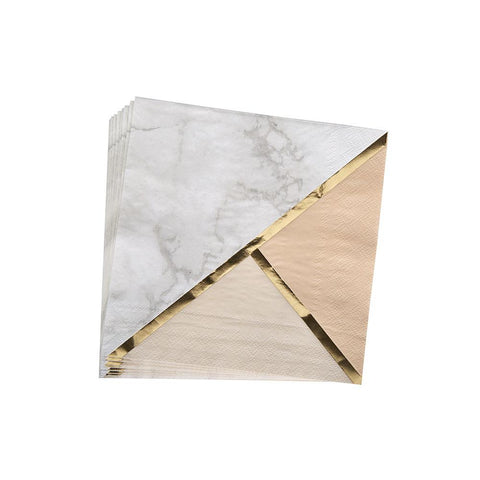 Blush Colour Block Marble Napkins (pack of 16)