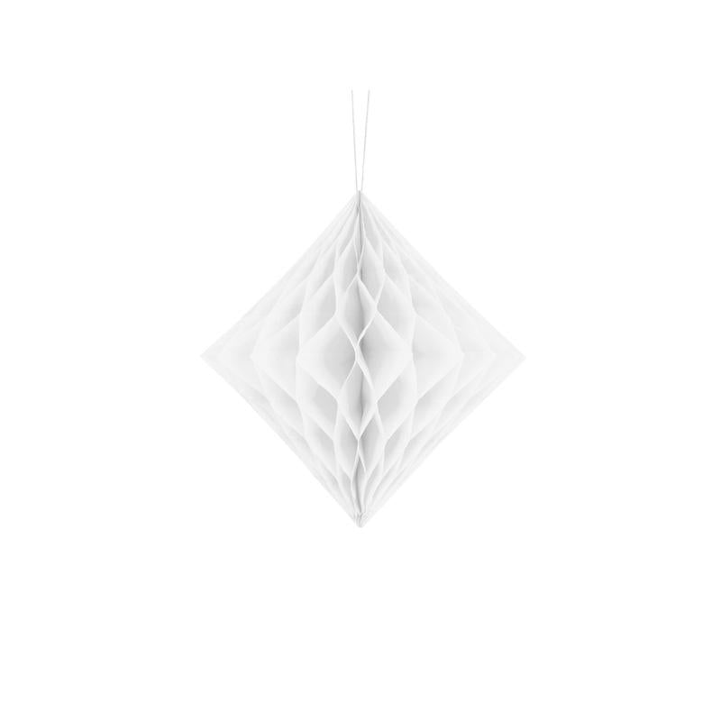 Diamond Honeycomb - White  Honeycomb Decorations Party Deco - Hello Party