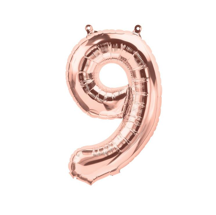16 inch Rose Gold Number 9 Foil Balloon