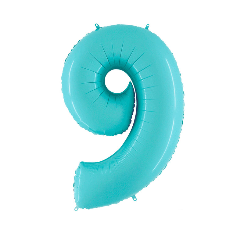 Large Light Blue Number Foil Party Balloons - 9- nine