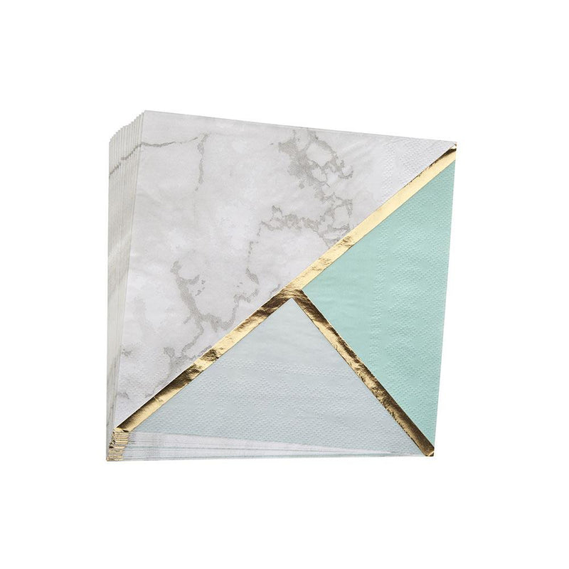 Mint Colour Block Marble Napkins (pack of 16)  Napkins Neviti - Hello Party