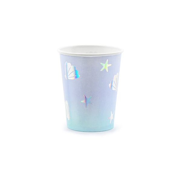 Iridescent Seashell OMbre Paper cups Narwhal Under the Sea party decorations and tableware