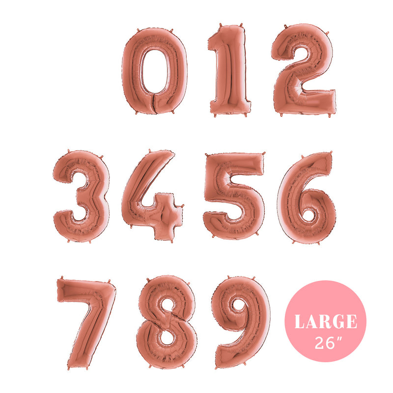 "Large Rose Gold Number Foil Party Balloons (26"")"