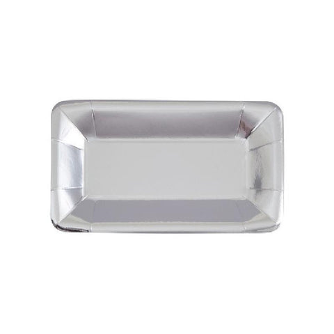 Shiny Metallic Silver Rectangular Paper Plates