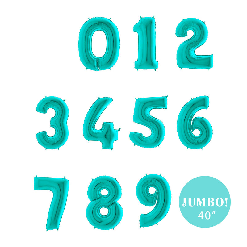 "Jumbo Tiffany Blue Number Foil Balloons (40"")  Balloons Grabo Balloons - Hello Party"