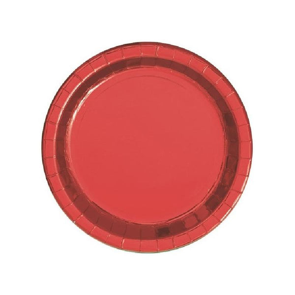 Shiny Metallic Red Round Paper Plates  Party Plates Unique - Hello Party