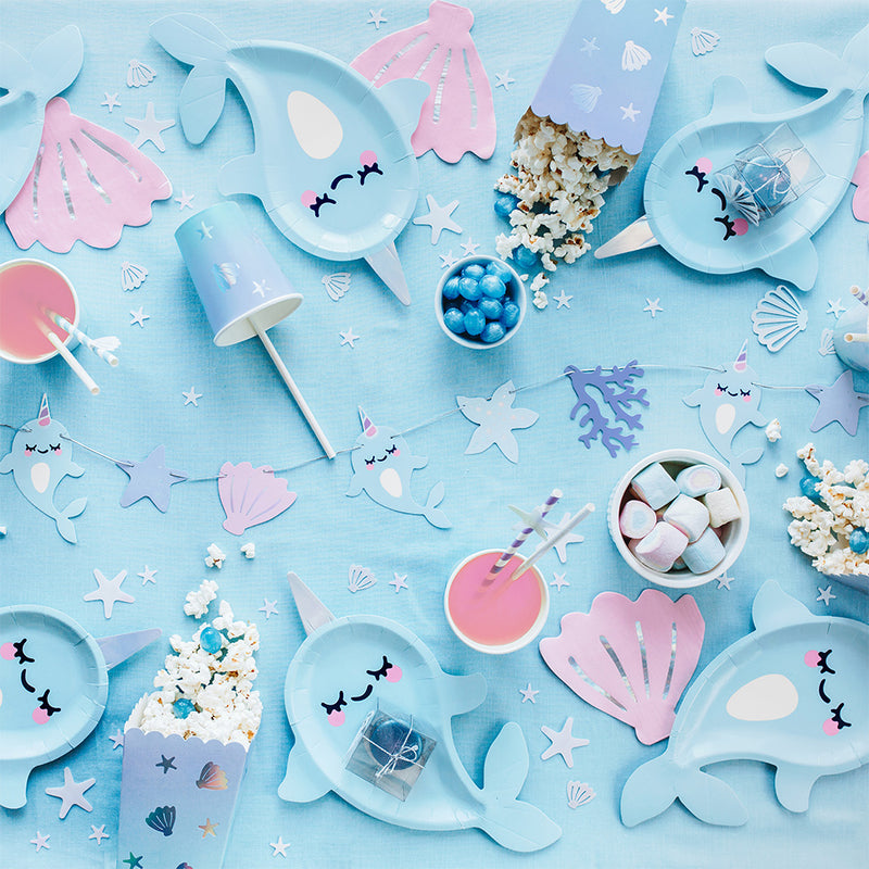 Cute Narwhal Shaped Paper Plates  Party Plates Party Deco - Hello Party