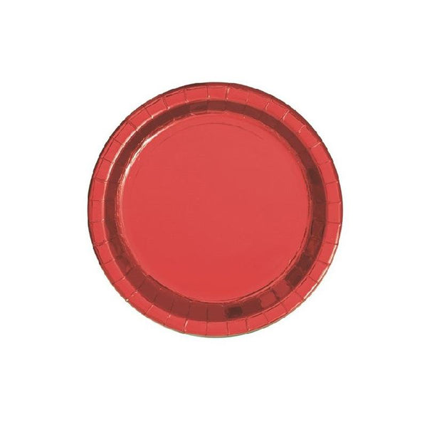 Small Shiny Metallic Red Round Paper Plates  Party Plates Unique - Hello Party