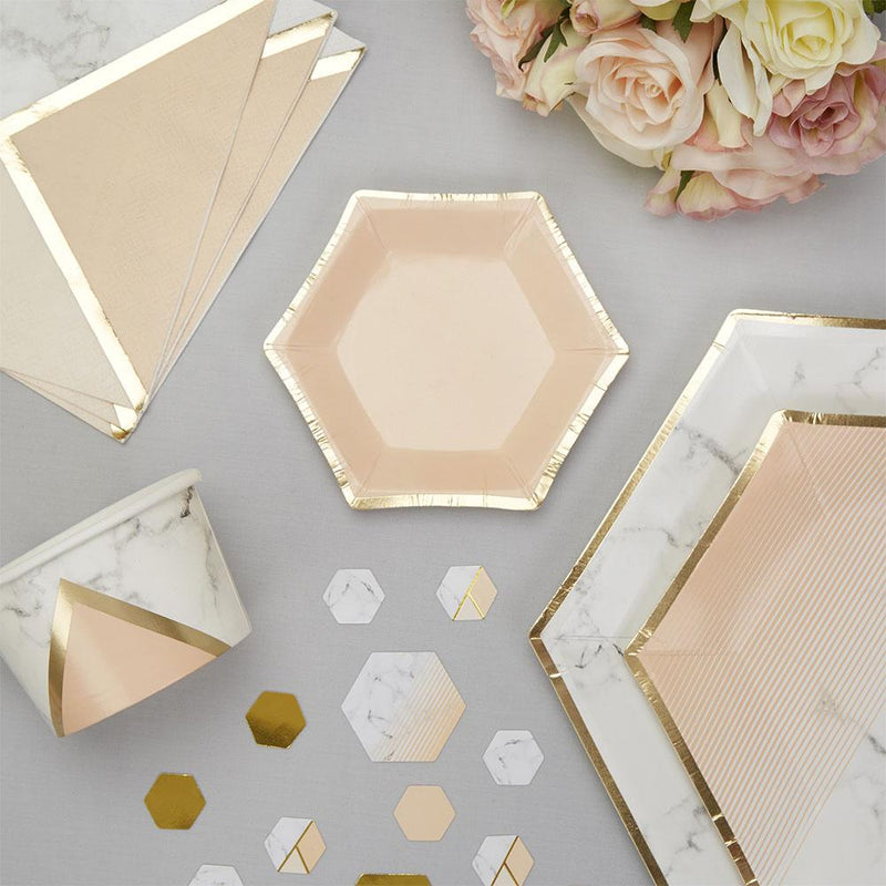 Blush Colour Block Marble Small Canapé Plate (pack of 8)  Party Plates Neviti - Hello Party