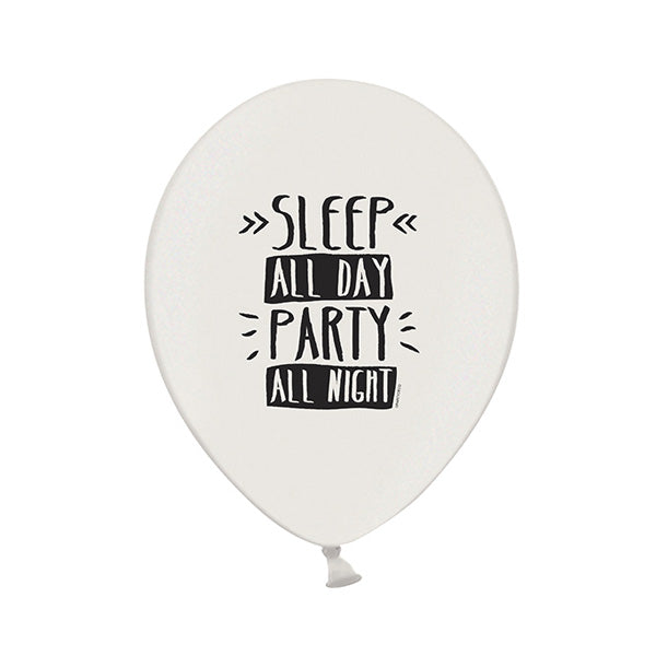 Monochrome Party Slogan Balloons (singles)  Printed Latex Balloons Party Deco - Hello Party