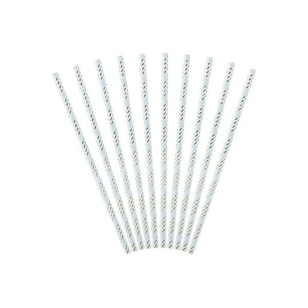 Light Blue Dainty Striped Paper Party Straws