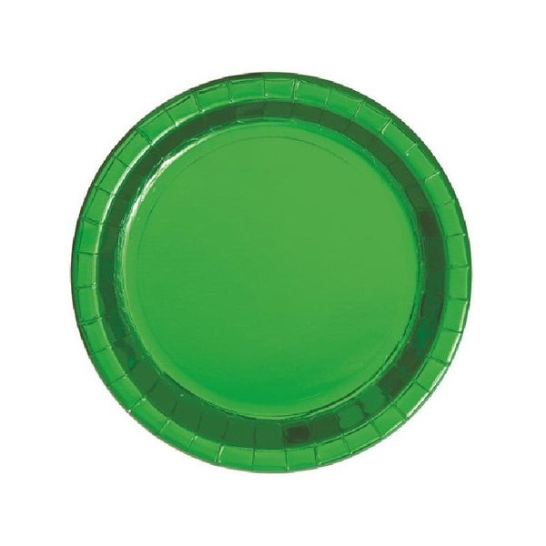 Shiny Metallic Green Round Paper Plates
