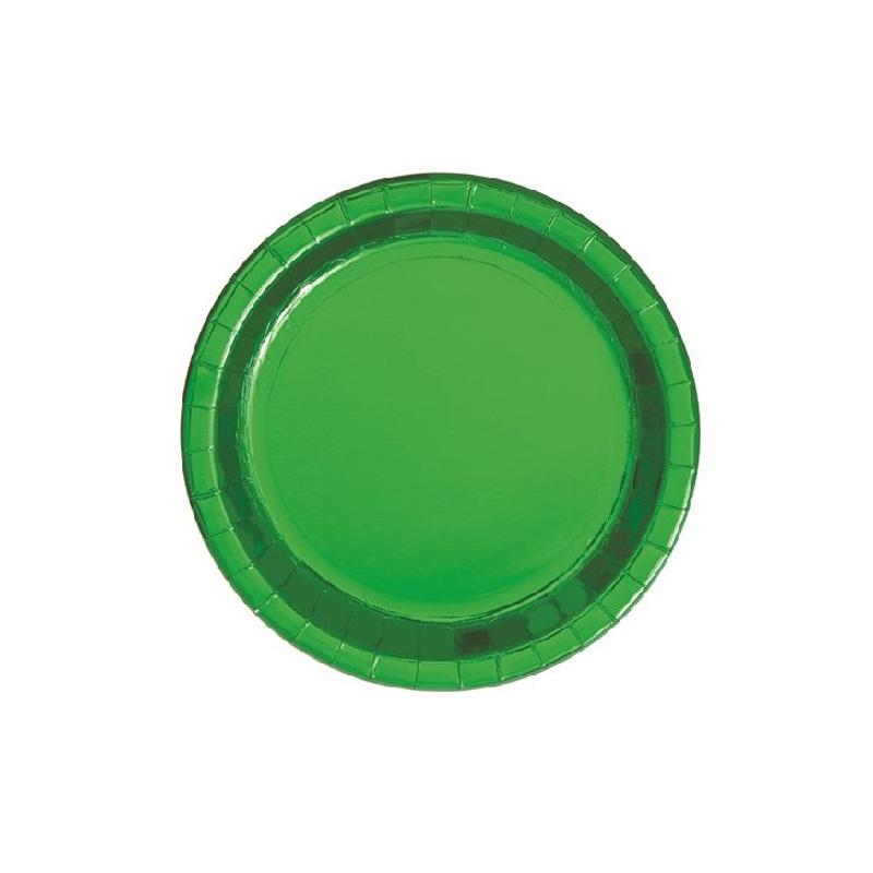 Small Shiny Metallic Green Round Paper Plates  Party Plates Unique - Hello Party