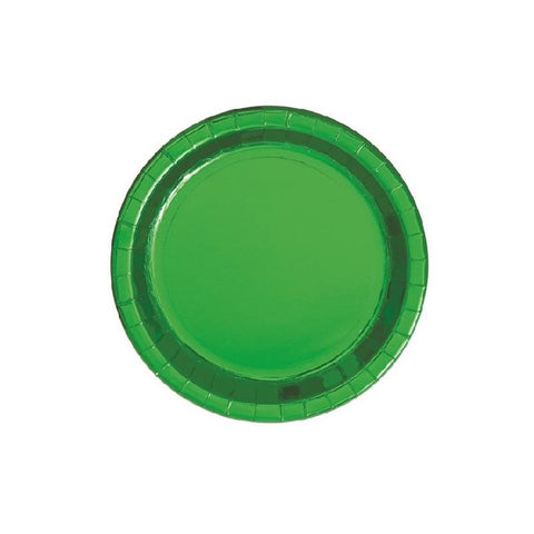 Small Shiny Metallic Green Round Paper Plates