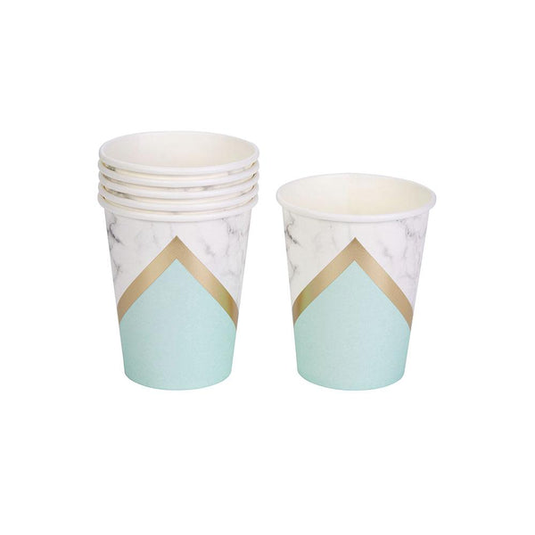 Mint Colour Block Marble Cups (pack of 8)  Party Cups Neviti - Hello Party