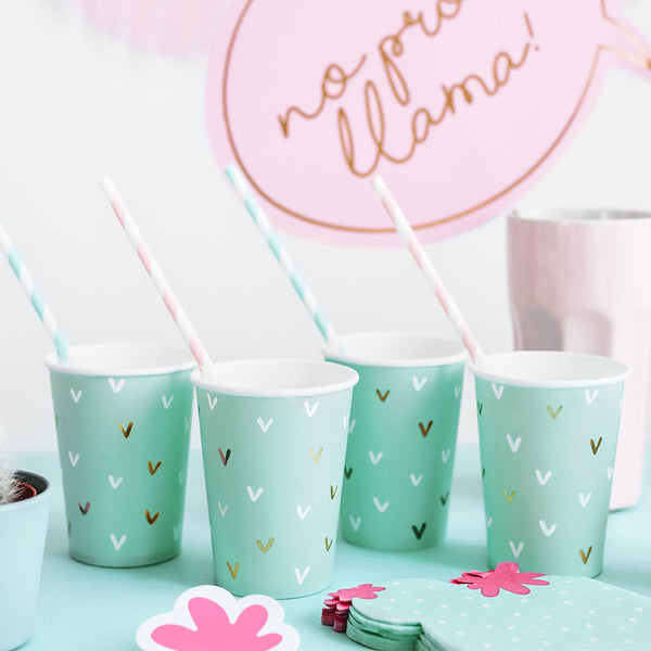 Pastel Cactus Party Paper Cups llama party