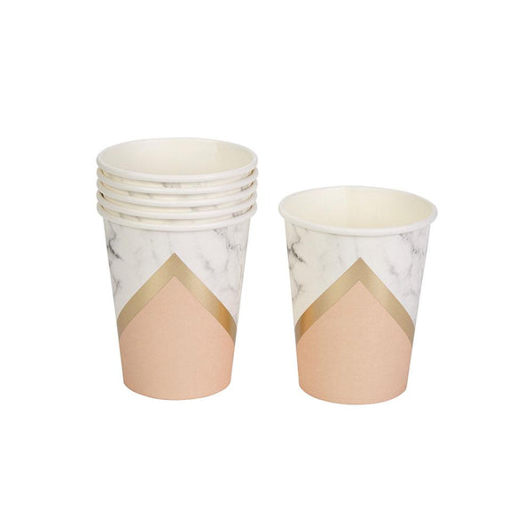 Blush Colour Block Marble Cups (pack of 8)  Party Cups Neviti - Hello Party