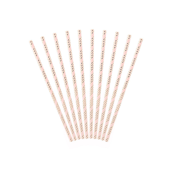 Pink Dainty Striped Paper Straws  Paper Straws Party Deco - Hello Party