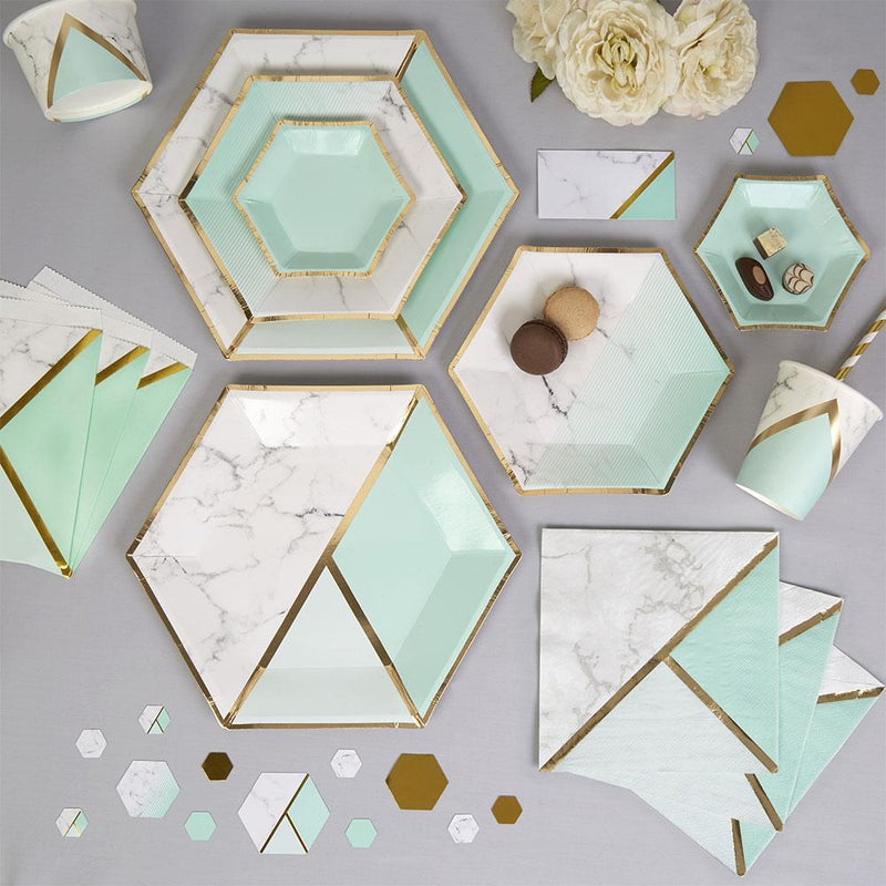 Mint Colour Block Marble Medium Plate (pack of 8)  Party Plates Neviti - Hello Party