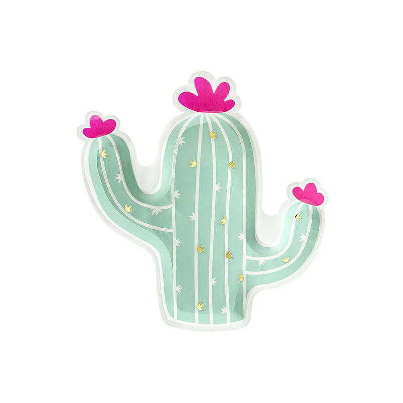 Pastel Cactus Shaped Paper Plates  Party Plates Party Deco - Hello Party
