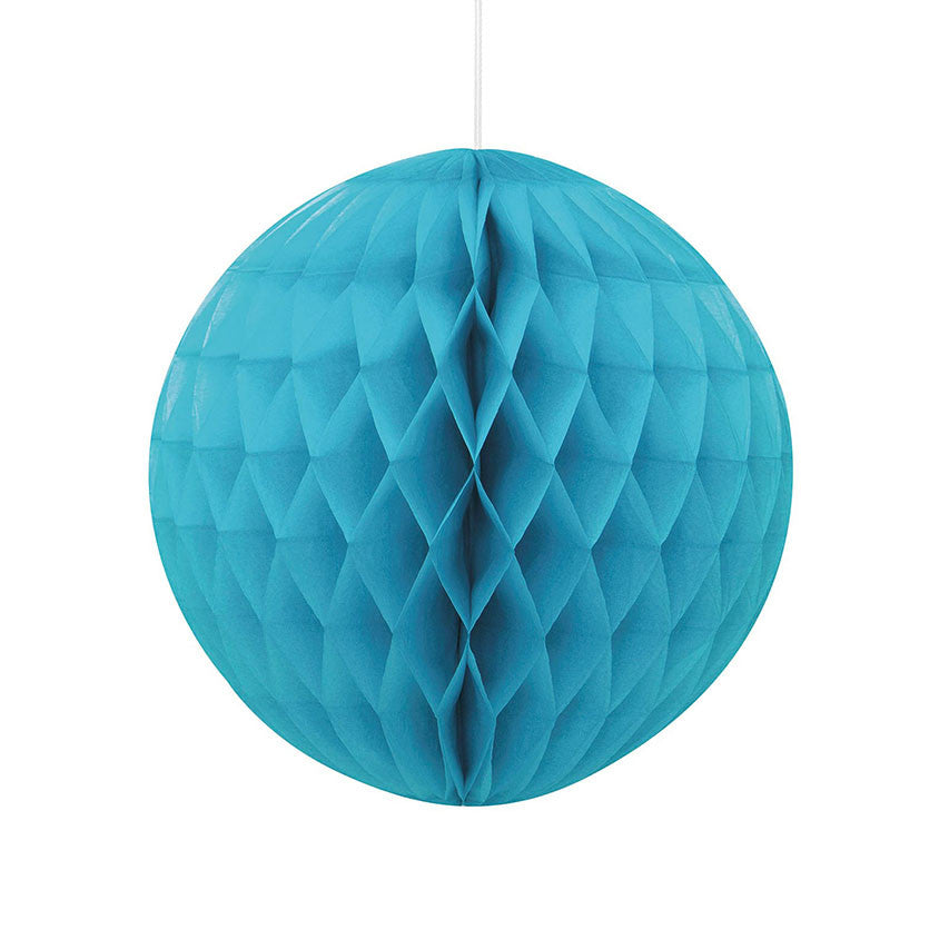 Caribbean Teal Hanging Honeycomb Decoration - Hello Party - All you need to make your party perfect!
