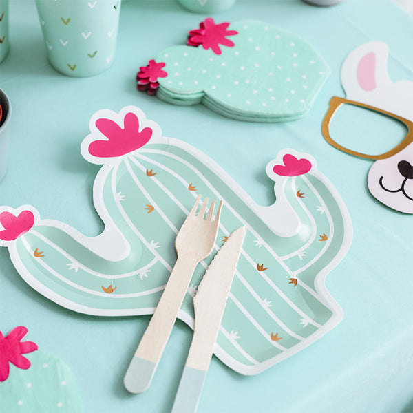 Pastel Cactus Shaped Party Paper Plates