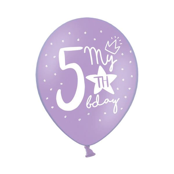 My 5th Birthday Balloon (single)  Printed Latex Balloons Party Deco - Hello Party