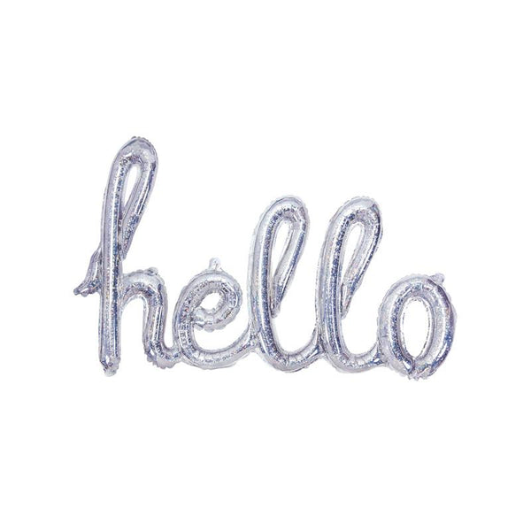 Hello Holographic Foil Balloon  Script Foil Balloons Party Deco - Hello Party