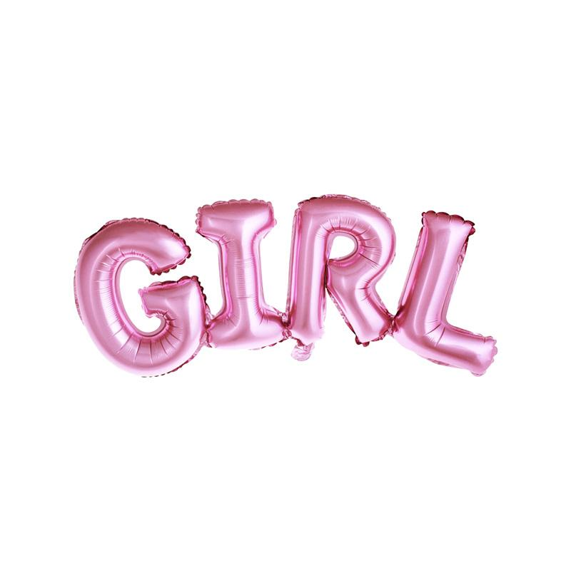 Girl Pink Foil Balloon  Word Foil Balloons Party Deco - Hello Party
