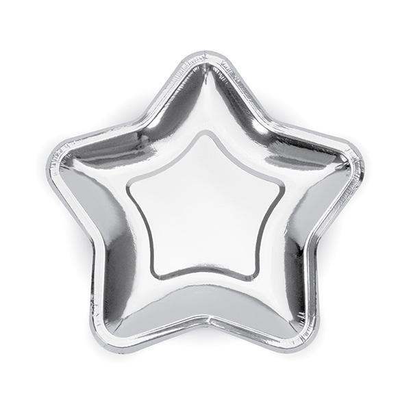 Shiny Silver Star Shaped Paper Plates  Party Plates Party Deco - Hello Party