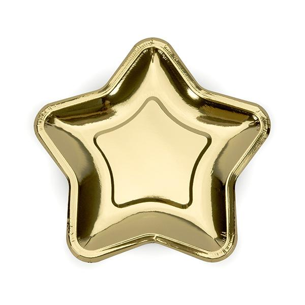 Shiny Gold Star Shaped Paper Plates  Party Plates Party Deco - Hello Party