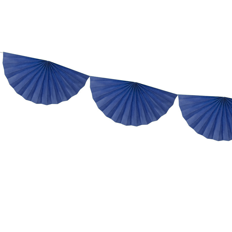 Tissue Fan Garland - Navy Blue  Tissue Fan Garland Party Deco - Hello Party