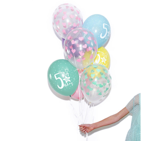 Blue Heart Pattern Clear Balloons Bouquet