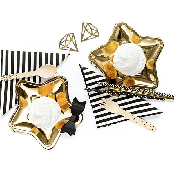 Shiny Gold Star Shaped Paper Plates