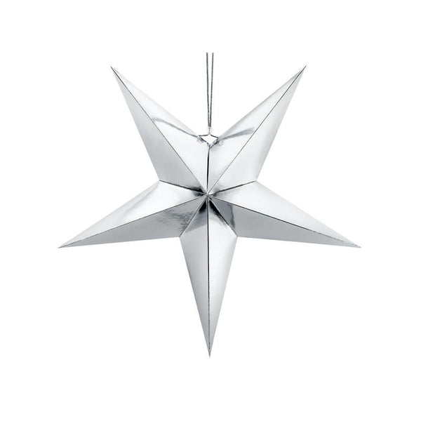 Giant Silver Paper Star  Hanging Decorations Party Deco - Hello Party