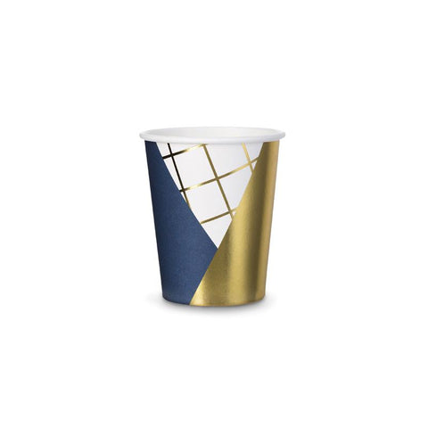 Geometric Navy And Gold Paper Cups