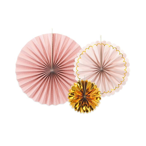 Pretty Pink & Gold Paper Fan Set