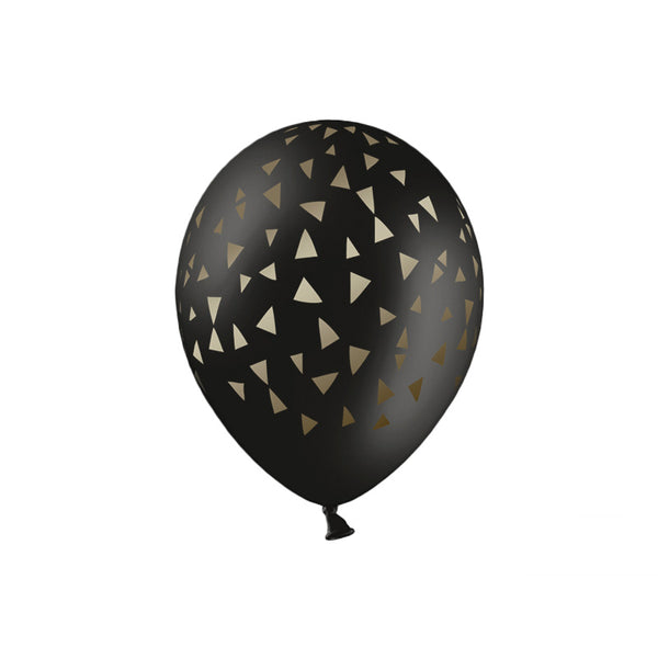 Gold Triangles Black Balloons (pack of 5)  Printed Latex Balloons Party Deco - Hello Party