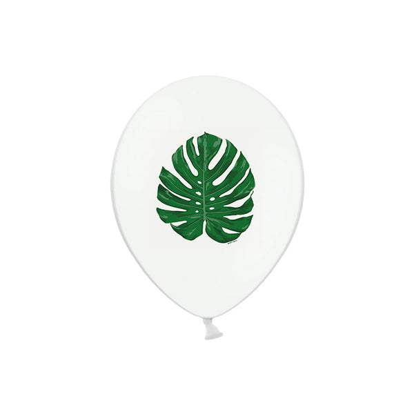 Monstera Leaf Print White Balloons (pack of 5)