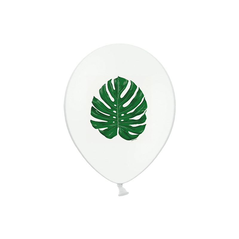 Monstera Leaf Print White Balloons (pack of 5)  Printed Latex Balloons Party Deco - Hello Party
