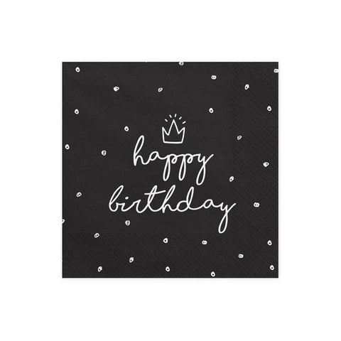Black Happy Birthday Napkins  Napkins Party Deco - Hello Party