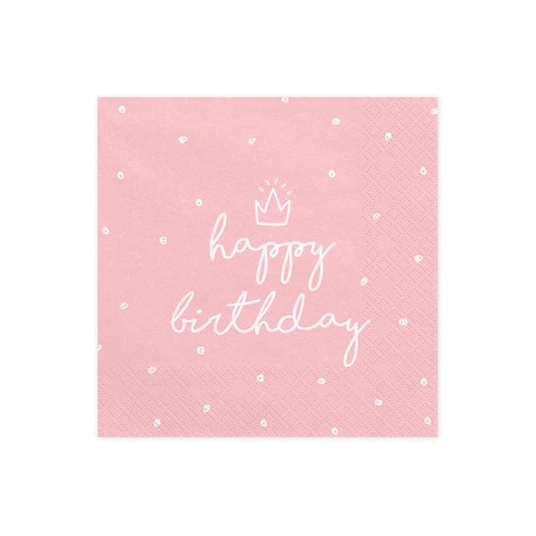 Pink Happy Birthday Napkins