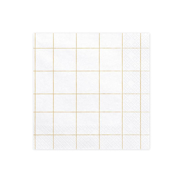 Gold Grid Pattern Napkins  Napkins Party Deco - Hello Party