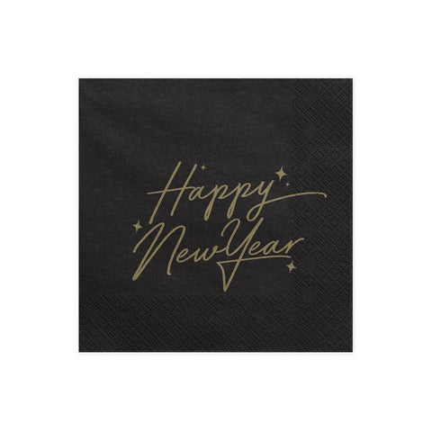 Happy New Year Black Napkins