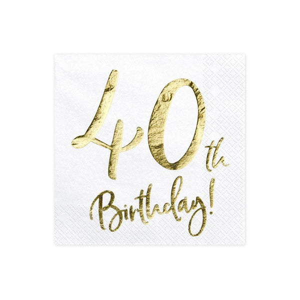 40th Birthday Napkins  Napkins Party Deco - Hello Party