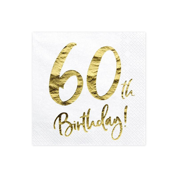 60th Birthday Napkins  Napkins Party Deco - Hello Party