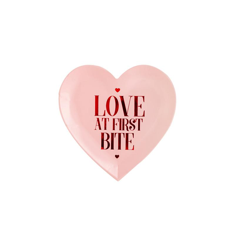 Love At First Bite Heart Shapes Party Plates