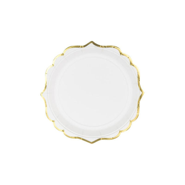 Luxe Hexagonal White And Gold Plates